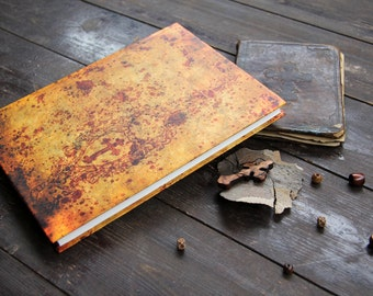 """Hand bound notebook, journal, diary, sketch book journal diary  with a small cross: """"Byzantine inspiration"""""""