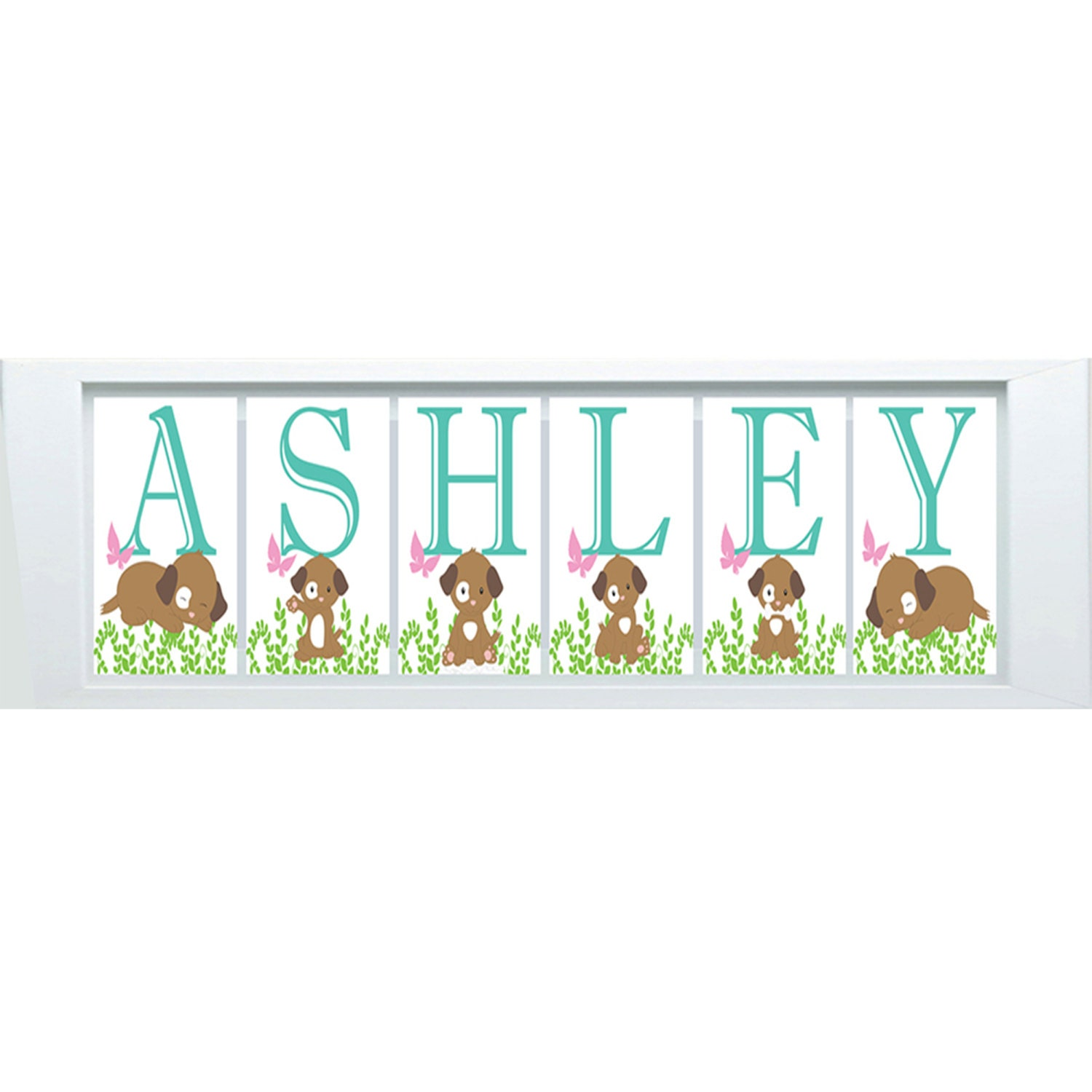 Puppy nursery decor personalized name print puppy nursery art for Room decor etsy