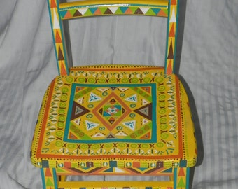 Aztec Appanage- A Yellow Antique Child's Chair