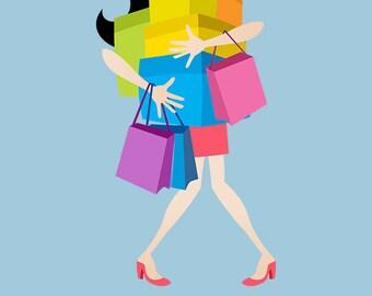 Shopping Girl - Shopaholic Clip Art