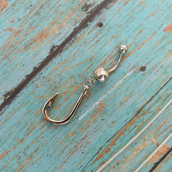 Fish Hook Charm Belly Ring for the Country Fishing Outdoors Girl