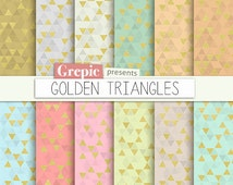 Triangle digital paper: GOLDEN TRIANGLES backgrounds glamour patterns, tribal gold, glitter triangles backgrounds in pastel / coral / teal