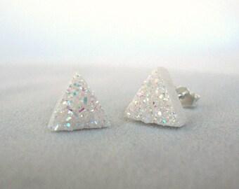AAA White Druzy Triangle Earrings - Minimalist Jewelry - White Druzy Sterling Silver Earrings - White Drusy Earrings -  Geometric Earrings
