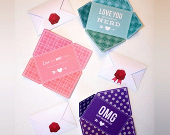 6 Printable Valentine Cards  |  Folds into Envelope Shape comes with Wax Seal Illustration