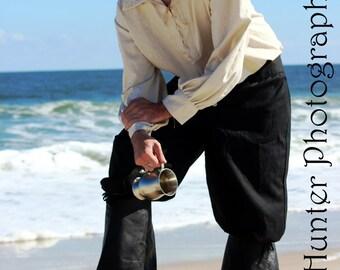 Men's Poet Shirt - Linen - Natural, White or Black - Medieval, Pirate, Rennaissance, Prince, Knight, LARP, SCA, Reenactor, Cosplay