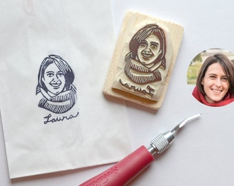 Custom rubber portrait stamp - hand carved - gift idea - mother's day