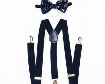 Anchor bowtie, NAVY blue bow tie, anchor bow, NAVY blue suspenders and bowtie set, anchor bow tie, suspenders, suspenders and bow tie