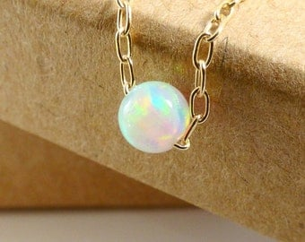 Opal Necklace, White Opal necklace, Small Opal Necklace, Gold filled necklace, Dainty Necklace,Opal jewelry, Gold Opal Necklace.