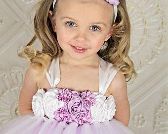 Flower Girl Dress, Lavender and White Tutu Dress