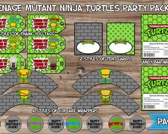 Teenage Mutant Ninja Turtles Party Pack, Ninja Turtles Birthday Banner, Cupcake Wrapper, Water Bottle, Thank You Tags - JPG INSTANT DOWNLOAD