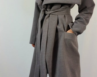 Grey Long Wool Coat / Winter Cape Coat with Pockets / Long Sleeve Trench Coat  / Jacket for Women /  Wool Vest / EXPRESS SHIPPING / MD 10150