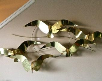 Curtis Jere Modern Seagulls Brass Wall Sculpture Signed 1981