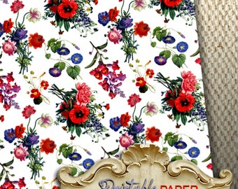 BOUQUETs -  Printable wrapping paper for Scrapbooking, Creat - Download and Print