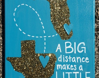Custom Long Distance State canvas / Big Little present