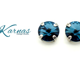 MONTANA BLUE 10mm or 47ss Rivoli Stud or Post Earrings Made With Swarovski Elements *Pick Your Finish *Karnas Design Studio *Free Shipping*