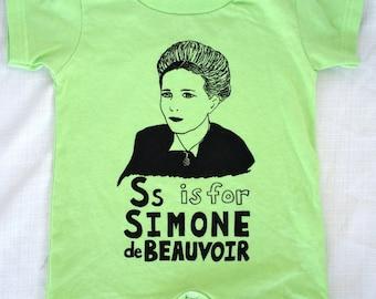SALE! 30% OFF - Last One! Feminist Onesie Simone de Beauvoir Baby Romper w/ 9x12 Screen Print - size 18 months // Baby Shower gift