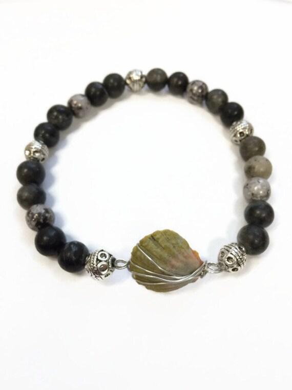 hawaiian moonrise shell mens stretch bracelet black beaded