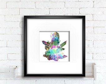 Crystal cluster art print, wall hanging colorful digital painting of Quartz crystals for instant download