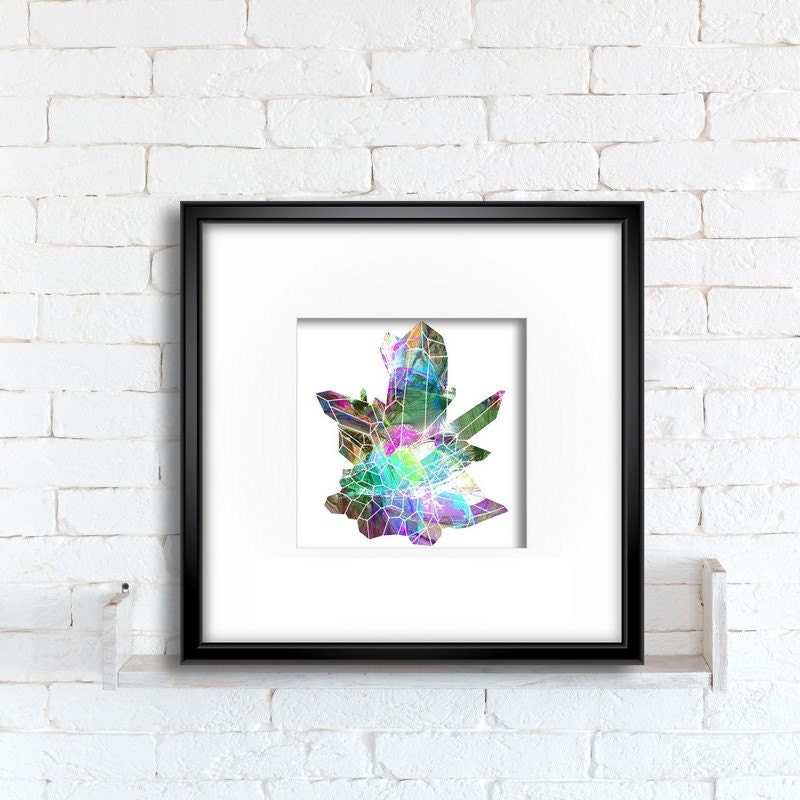 Wall Decor With Crystals : Crystal cluster art print wall hanging colorful digital