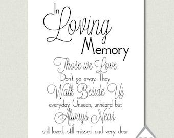 In Loving Memory, Wedding Sign, Printable PDF, JPEG, Instant Download Digital File