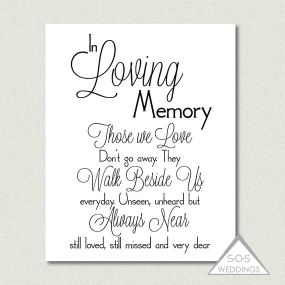 in loving memory, wedding sign, printable pdf, jpeg, instant, Powerpoint templates
