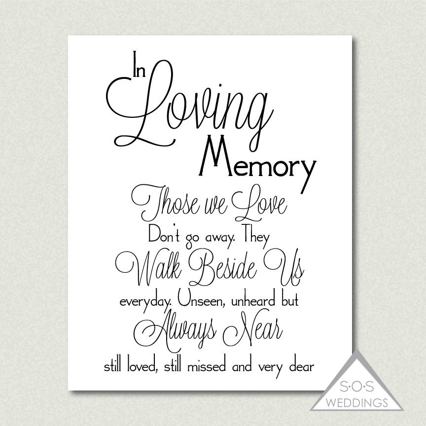 Memory Quotes Images: In Loving Memory Wedding Sign Printable PDF JPEG Instant
