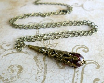 Garnet Necklace Dark Red Victorian Inspired Pendant Necklace Blood Red Vintage Style Jewelry