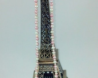 """Springtime in Paris 24"""" Pink And Lavender Beaded Necklace With Eiffel Tower Pendant"""