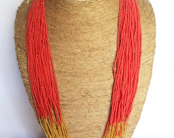 Statement Hot Red Necklace/Multistrand/Beaded Necklace/Boho Necklace/Gold Wedding Necklace/Seed Bead Necklace/Bridesmaid