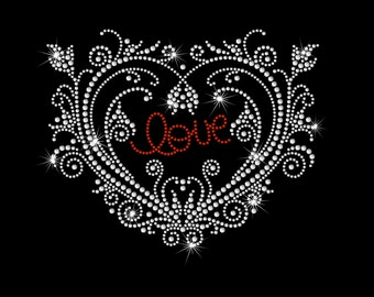 Ornate Heart with Red Love Inside XOXO Valentine's Day Rhinestone Bling Iron on Heat T-shirt Transfer