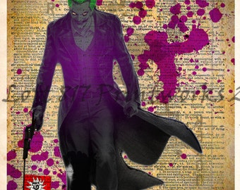The Joker art print  - SuperHero pop art  - Retro Super Hero Art - Dictionary print art