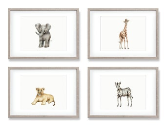 Safari Nursery Art, Baby Animal Prints, Elephant, Giraffe, Zebra, Lion, Gender Neutral Baby, Jungle Nursery, Baby Wall Decor, Set of 4