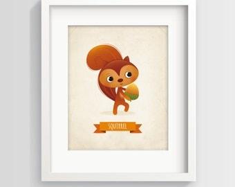 Nursery print, Squirrel nursery art, kid's illustration, animal nursery art, nursery decor, children's art, squirrel nursery, new baby gift