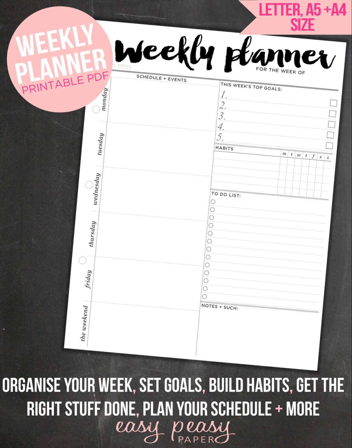 It's just a photo of Gorgeous Weekly Organizer Printable