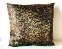 Black Brown & Gold Metallic Decorative Embroidered Chinese Silk Brocade Cushion Cover 16x16 or 18x18 inches