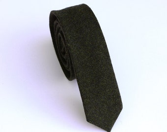 Army Green Wool Neckties. Dark Green Wool Tie.Mens Ties.Business Ties.Wedding Ties