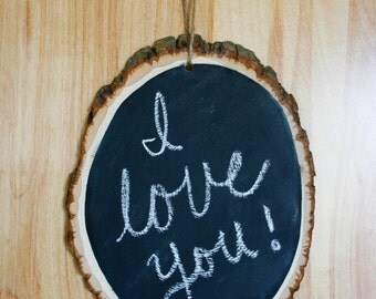 Chalkboard Wood Slice. Sign. Rustic. Woodsy. Shabby Chic. Wedding.