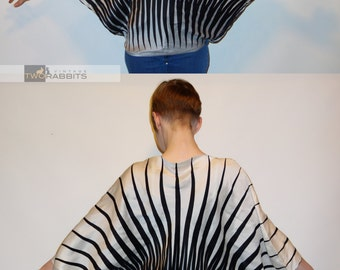 Rare 1980s vintage striped Werlé Beverly Hills circle blouse with batwing sleeves ombre avant garde vintage couture designer 80s XS S M