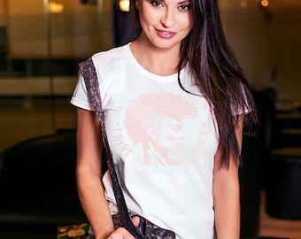Women Punk Rock T-shirt RockYouBaby with a Mohawk - Women/White/Pink