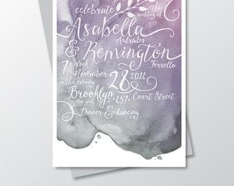 The LAUREN . Printed Invitation Only . Purple Plum Silver Grey Metallic Wedding White Calligraphy & Watercolor Nautical Beach RSVP Postcard