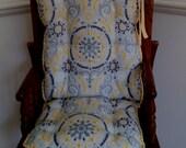 Grey & Yellow Flourish High Chair Cushions, Highchair Pads, Wooden High Chair Cover, Rocking Chair Cushions,