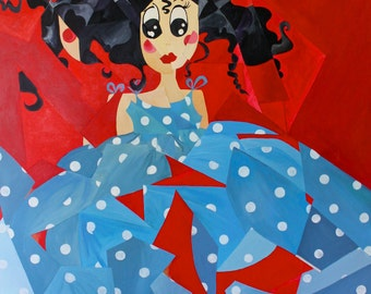 Princess Hurricana, a hurricane of colors, energy and imagination - Large  Original Cubist acrylic painting on canvas.