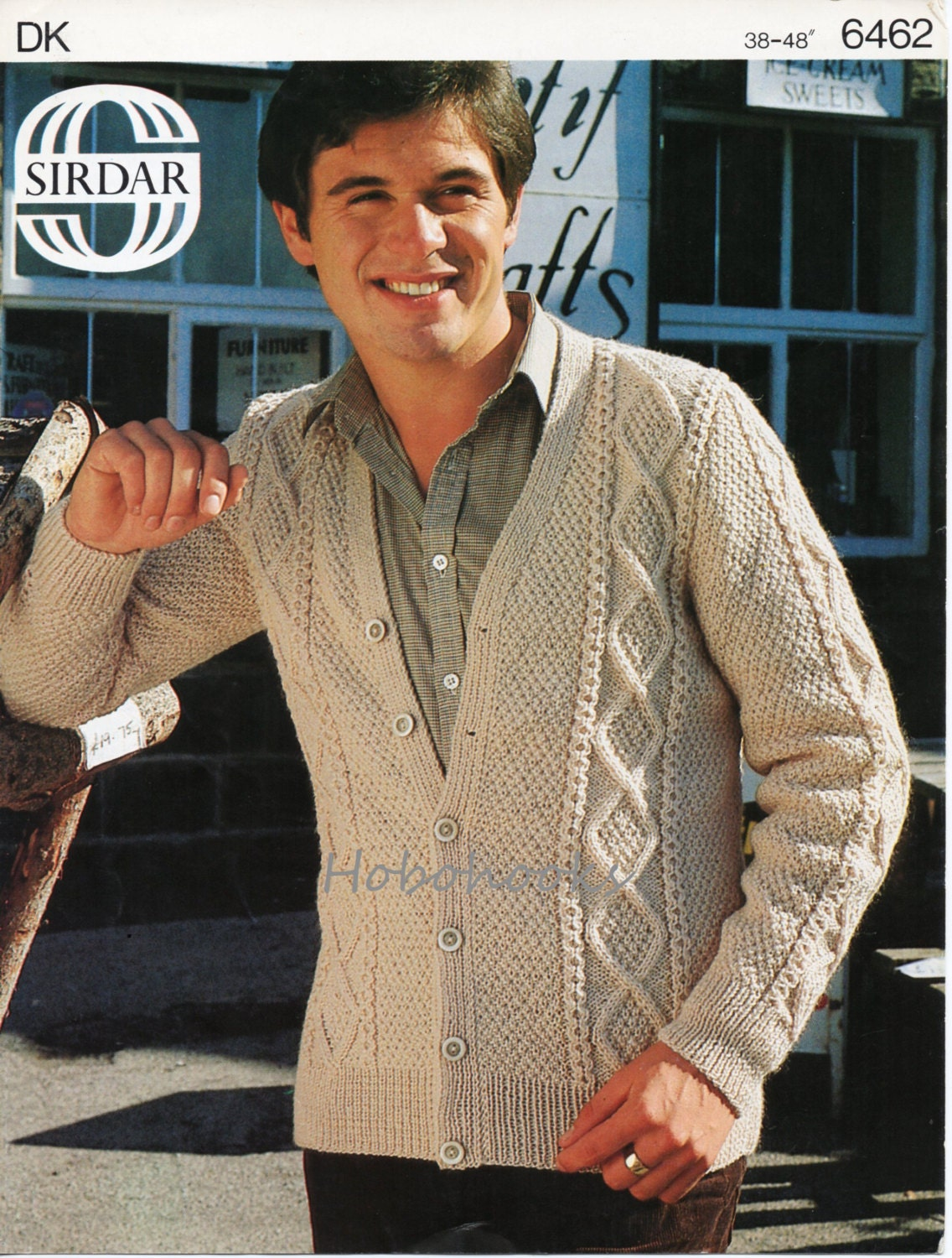 Mens Cardigan Knitting Patterns : mens aran cardigan knitting pattern cable jacket 38-48inch DK
