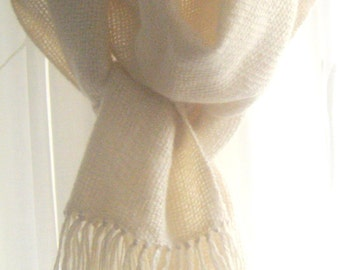 Knitted winter scarf, cables, natural wool, unbleached, undyed.
