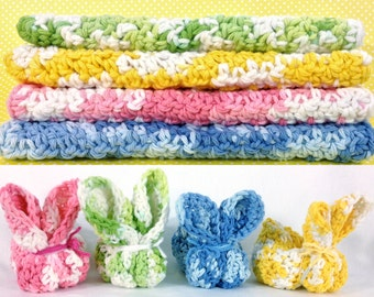 Pastel Crochet Washcloth Bunny Washcloth Set of 4 Yellow Green Pink Blue Cotton Wash Cloth Bunnies Gender Neutral Baby Shower Gift under 20