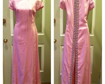 Vintage 50's Jeweled Pink Silk Evening Gown W/ Crystals & Pearls