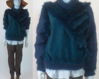 80s SOLD - Genuine Fox Fur trimmed wool mohair blend sweater