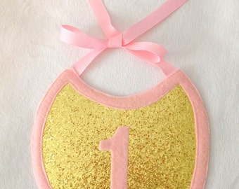 Pink and Gold First Birthday Bib, Cake Smash Bib, First Birthday Photo Prop, Gold Glitter Bib, Pink and Gold Bib, Cake Smash Bib