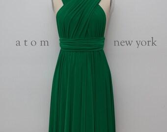Emerald Green SHORT Infinity Dress Convertible Formal Multiway Wrap Dress Bridesmaid Dress Party Dress Cocktail Dress Evening Dress