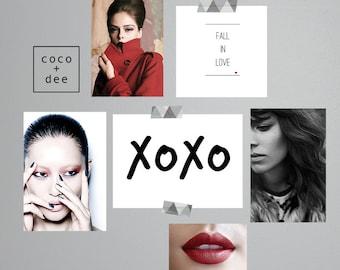 XOXO, typographic print, kisses print, love and kisses, typography poster, modern prints, stylish quotes, xo print, poster print, love art